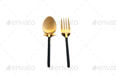 front view golden cutlery spoon and fork on white background dish cutlery knife dinner spoon food