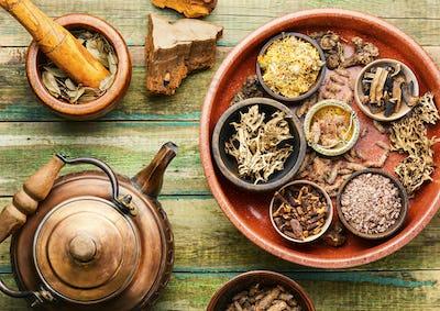 Medicinal healing herbs in alternative medicine