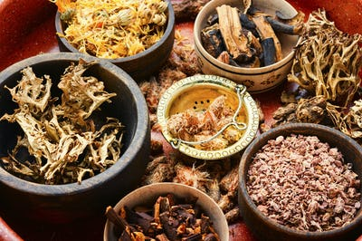 Dry healthy herbs in natural herbal medicine