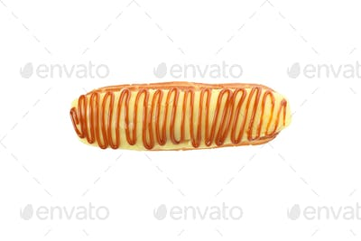 Delicious eclair with custard isolated on white background