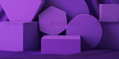 Geometric shapes purple stand podium mockup for product display on silk background