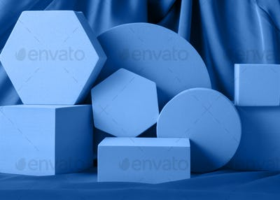 Geometric shapes night blue stand podium mockup for product display on silk background