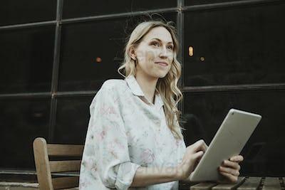 Woman using digital device