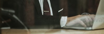 Businessman working at a cafe