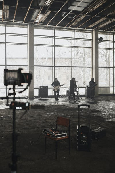Rock band music video shoot, behind the scenes