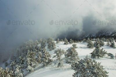 Winter landscape before thunderstorm