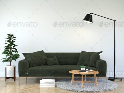 Sofa in the room with a lamp placed on the side.