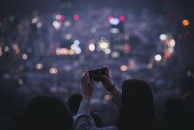 Capturing a city view at night