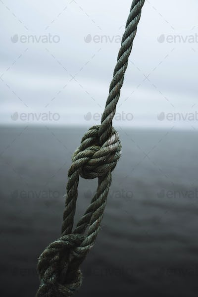Green strong knotted nylon rope