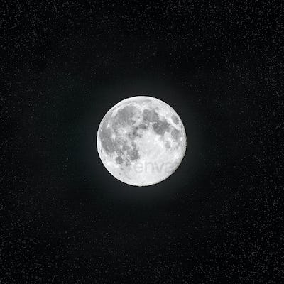 Full moon in the clear night sky