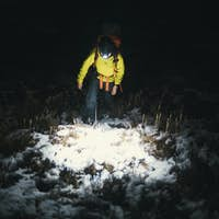 Night time hike in the snow
