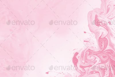 Pink oil paint pattern on a plain pink background