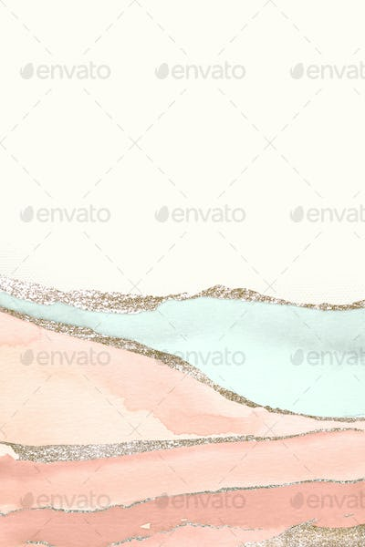 Shimmering orange and green paint textured background