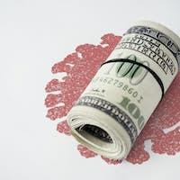 Money contaminated with coronavirus background