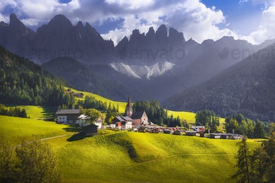 Dolomites Alps, Santa Magdalena view and Odle mountains in Funes Valley, Italy.