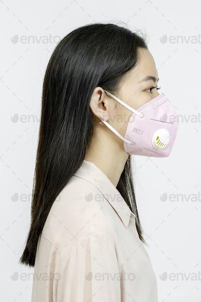 Asian girl wearing a face mask