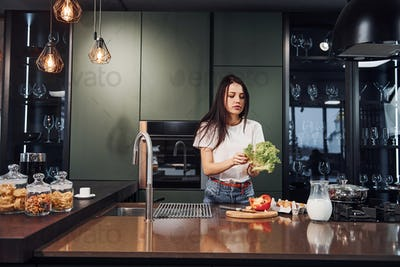 Young beautiful brunette in casual clothes preparing healthy food in kitchen at daytime