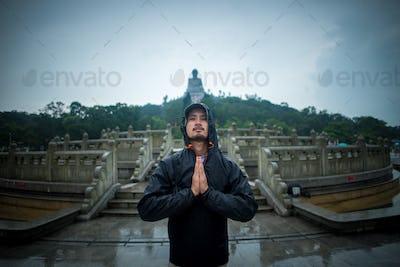 traveler man in Hong Kong