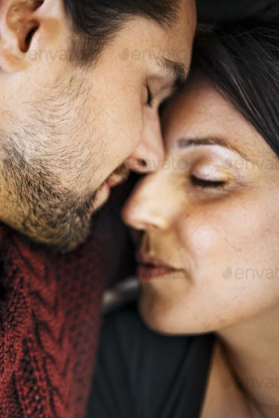 Passionate couple at home