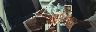 Business people making a toast at an office party