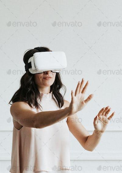 Woman experiencing virtual reality