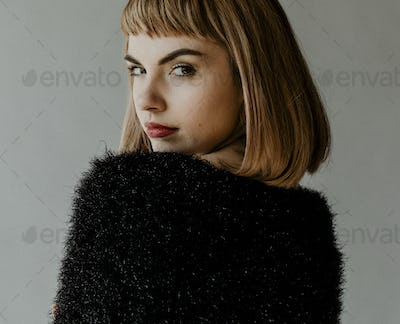 Model with a blunt bob haircut