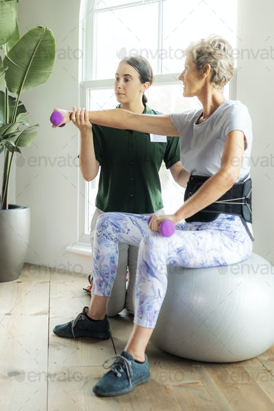 Injured woman in rehabilitation