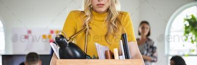 Sad businesswoman fired