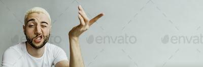 Edgy male model posing