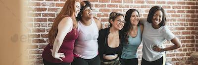 Happy women in a fitness studio