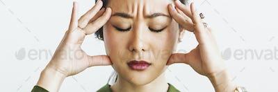 Woman having a bad migraine