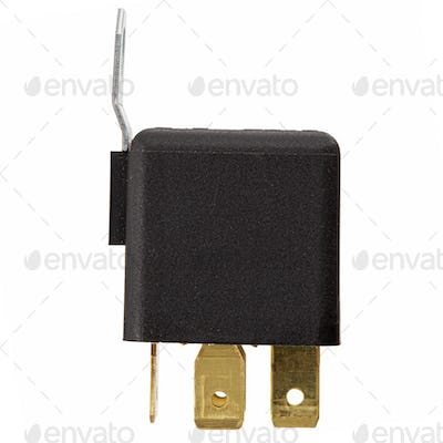 Car electromagnetic relay switch, isolated on white background