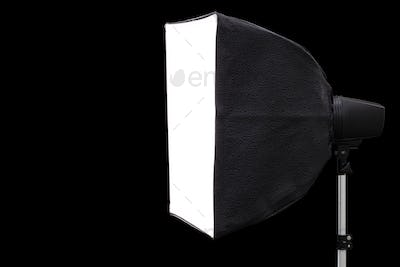 Big photographic softbox, isolated on a black background
