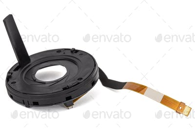 Lens aperture assembly with flex cable and motor, isolated on white background