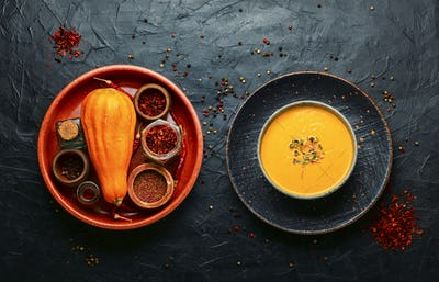 Pumpkin soup and pumpkins