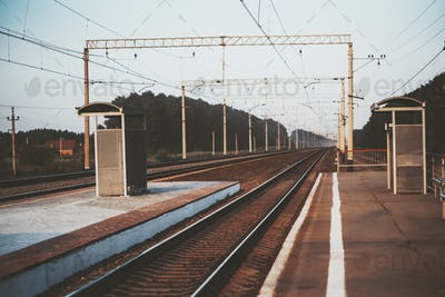 A train station in the evening