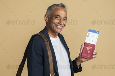 Happy Indian man on a business trip