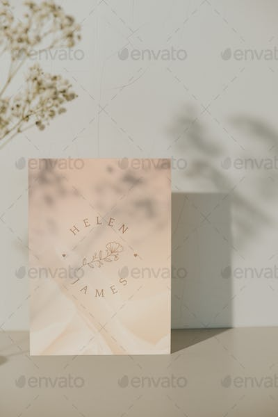 Wedding invitation card with plant shadow template