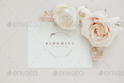 Invitation card with rose decoration