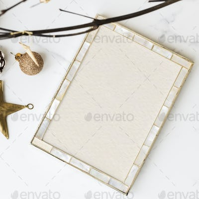 Festive picture frame on a table