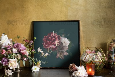 Floral frame mockup by the yellow wall