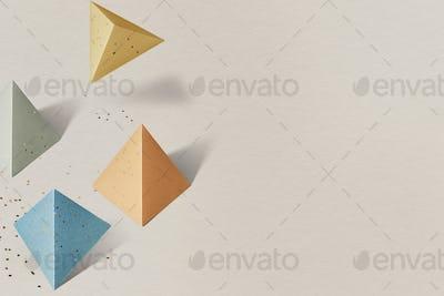 3D colorful paper craft pentahedron patterned background