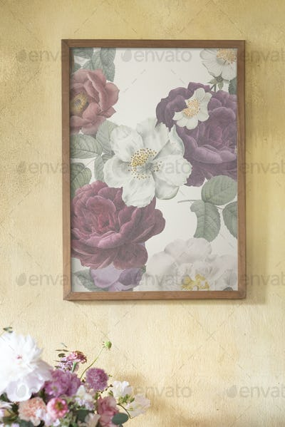 Floral frame mockup on a grunge yellow wall