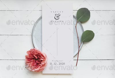 Floral wedding card mockup on a plate