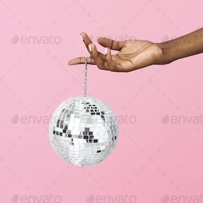 Shiny silver disco ball mockup