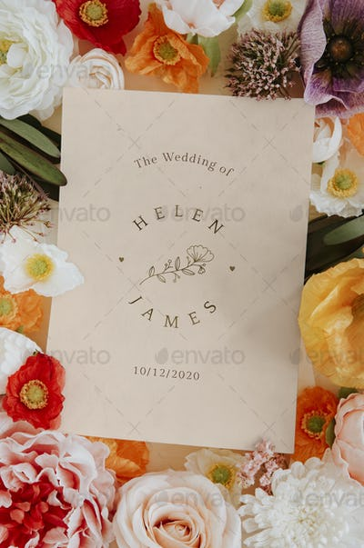 Botanical wedding invitation card mockup