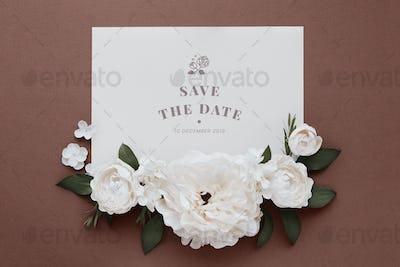 Wedding invitation with rose decoration