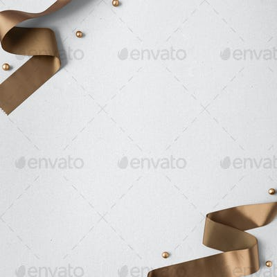 Copper ribbons and gold baubles social template mockup