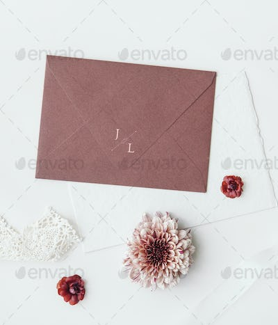 Pink envelope and flowers