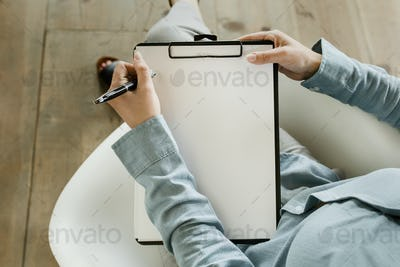 Clipboard with blank paper template